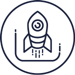 Icon with a rocket