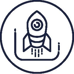 Icon mit einer Rakete