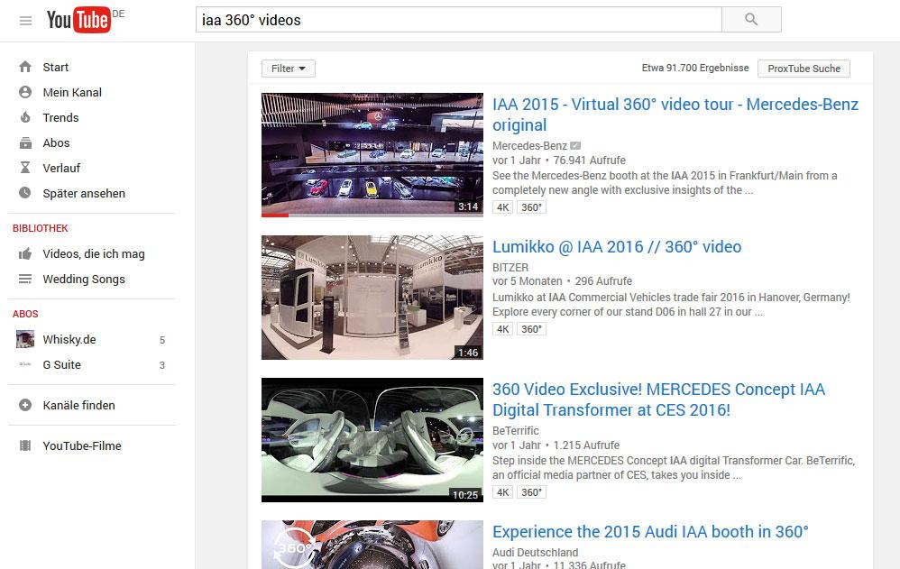 """Ergebnisliste der Suche """"IAA 360° Videos"""". Die Videos mehrerer Hersteller werden untereinander angezeigt"""