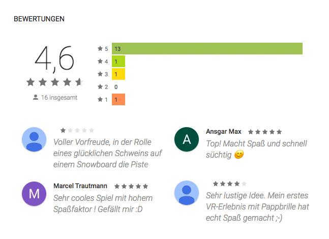 Screenshot der Bewertung der Pistensause App