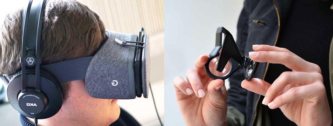 Tobias mit einer Daydream VR-Brille auf dem Kopf
