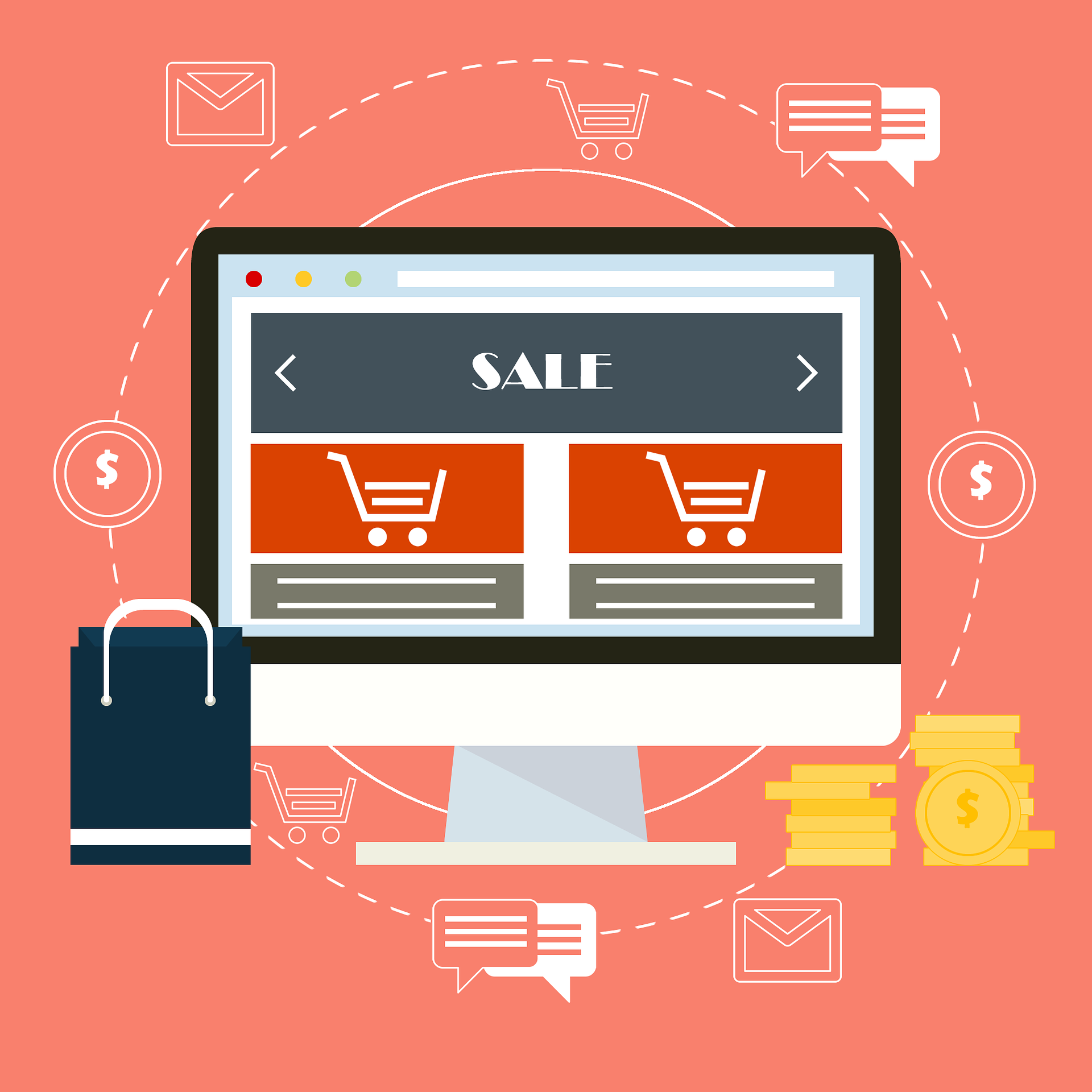Illustration von einem Online Shop